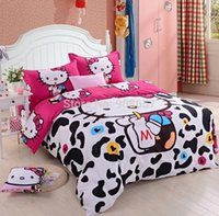 Wholesale violet red black cow Hello Kitty printing comforter set single twin full queen king size duvet bed cover girls bedding bedspread