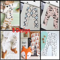 baby embroidery designs - 8 Design New Baby Boys Girls Cartoon Harem Pants Trousers Children Hip Hop pp Pants Children Toddlers Fox Cat Tiger Geometric Legging GZ P03
