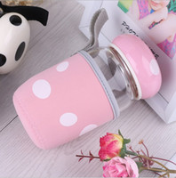 Wholesale Creative water bottle lovely girls glass cup mushroom design ml portable with lid and tea infuser and cover for students lovers