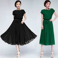 Vintage Dresses belted pencil skirt - 2016 New Style GREEN WOMEN S MAXI CHIC CHIFFON BELT LONG BALL PARTY GOWN DRESS EVENING SKIRT