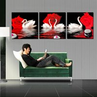 Wholesale Wall decoration Unframed Pieces art picture Canvas Prints rose swan peacock Bamboo mountain waterfall Cartoon flower nature