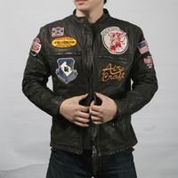 Wholesale AVIREX AERONAUTICS man genuine leather jacket with top layer of calfskin leather motorcycle suit male Multi Logo