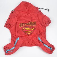 Wholesale New In Stock clothes for pets Superman Dog raincoat Pet start button Tetrapod Rainwear