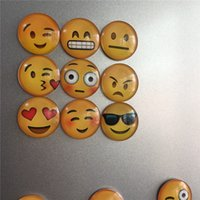 Wholesale Newest QQ Expression Emoji Fridge Magnet Cute Cartoon Fashion Crystal Glass Fridge Magnets Funny Refrigerator Toy ZD096B