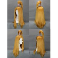 Hombres Prestyled Ponytail Straight Costume Cosplay Pelucas Largo Amarillo