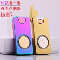 custom lighter - Custom flash colorful lights gravity sensor shake rechargeable lighter USB windproof cigarette lighter shipping custom