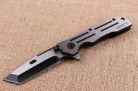 Nuevo cuchillo plegable de la aleta de los 22cm fuerte 440C Hoja del final del dibujo del alambre 58HRC toda la manija de acero Cuchillos al aire libre de la supervivencia de la supervivencia