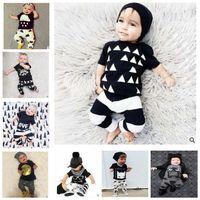 animal crossing kids - Baby Ins suit Summer Outfits Letter Batman T Shirts T Shirt Cross Harem Pants Toddler Clothing Set Newborn Kids Clothing KKA524