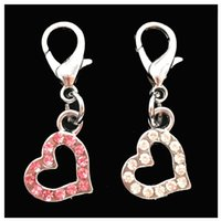 bark collar puppy - 2pcs Rhinestone Heart pet Collar Charm Pet Jewelry Cat dog collar pendant Bone Necklace Collar Puppy collar accessory