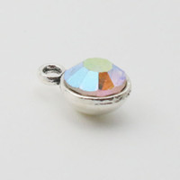 ab slide - 50pcs AB Color Month Birthstone Charms Alloy Vintage Small Bangle Charms mm AAC733