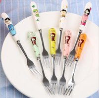 Wholesale cooking tools Stainless Steel Dinner Fruit Forks Set Kawaii Cute Anime Cartoon Cutlery For Students Children Bone China fruit fork