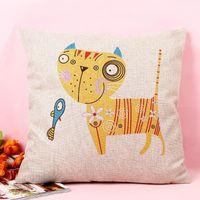 Wholesale New Cotton Linen Pillow Case Cartoon Cat with Fish Print Sofa Cushion Cover Home Decor