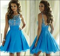 aqua brooch - Aqua Blue Short Homecoming Dresses Jewel Neck with Beads Crystal A Line Chiffon High School Graduation Gowns Custom