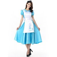 alice clothing - 2016 Alice In Wonderland Maid Blue Dress Sexy Cosplay Halloween Costumes Uniform Temptation Club Party Clothing Hot Selling