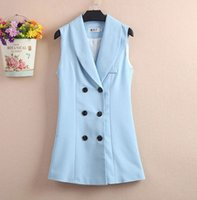 Cheap 4 Colors New 2016 Spring Solid Thin Slim Women Suit Vest Feminine Double Breasted Tailored Collar Gilet Tops Sleeveless Waistcoat