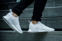 Wholesale All White NMD Runner Running Shoes High Quality Running Sneakers Breathable NMD Sneaker Women and Men Casual Shoes with Original Box