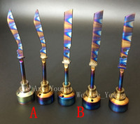 anodized titanium - Anodized Colorful Titanium Carb Cap Rainbow Ti Nail dabber mm and mm for Smoking Water pipe glass Oil Rigs Vaporizer
