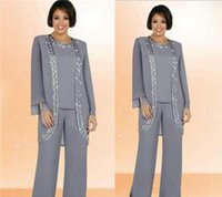 ankle length dress pants - 2016 Grey Mother s Pants Suits of The Bride Groom For Ladies Womens Ankle Length Long Sleeves Plus Size Wedding Party Formal Dresses