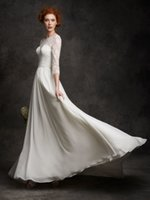 Cheap 2016 New Summer Beach Wedding Dresses For Bride Chiffon Lace Bodice With Three Quarter Sleeves Corset Back Pleated Bridal Gowns On Sale