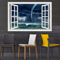 amazing wall papers - 3D Window Scenery Wall Sticker Home Decor Decals Tornado Decals Amazing Nature PVC Wall Papers Home Decor Living Room Wall Art quot x36 quot