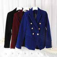 Wholesale European Station Winter new three dimensional cut gold buckle double breasted Slim was thin suit jacket