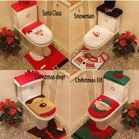 Wholesale 4 Styles Cheap Merry Christmas Decoration Santa Toilet Seat Cover Rug Bathroom Set Best Christmas Decorations Gifts