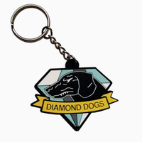 Wholesale metal gear solid V the phantom pain dogs of war logo keychain keyring watch dogs black enamel key chain unisex