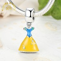 belle love - High Quality Sterling Silver Belle Dress Dangle Charm Fit European DIY Jewelry Bracelets Necklaces Pendants