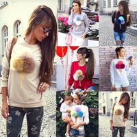 ball cone - In the new printed cute furry ball ice cream cone round neck long sleeve ladies fleece jacket