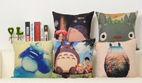 animations cotton cover - Miyazaki S Animation Classic Cartoon Cute Totoro Japan Emoji Pillow Case Cover Massager Decorative Pillows Home Decor Gift