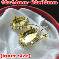 Wholesale 10x14MM X18MM X25MM X30MM French hook Earring Tray Oval shape Bezel Setting Tray for Oval Cameo Cabochons