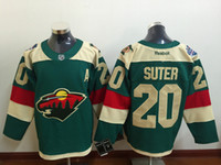 Wholesale NHL Minnesota Wild SUTER NEW MEN S Ice Hockey Jerseys green colors NIEDERREITER all sizes MIX ORDER
