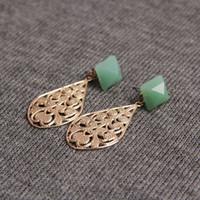 Compra Dama como-Recorte de oro de lágrima Hoja Faux Stone Earring Stud 2 Declaración de color OL Señora Like Style OEM ODM al por mayor