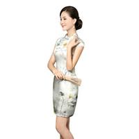 cheongsam - Hot Sale Classical Style Cheongsam Dress High Grade Summer Silk Dress Improved Short Chinese Cheongsam QP