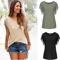 Wholesale Europe Style Short Sleeve T shirt Sexy Tank Tops for Women T shirts Tassel Women Clothes Dresses