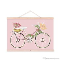 One Panel vintage sheet - Mild Art Original Flowers Bicycle Handpainted Bike Pink Vintage Retro Rose Girly Posters Prints Bedroom Home Wall Decor Gift Canvas Painting