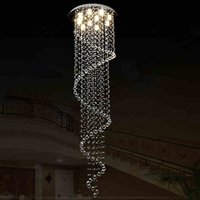 15 ~ 20sq.m beautiful hallways - VALLKIN Ceiling Chandeliers Pendant Light Lamps Beautiful Spiral Design Luxury Large Crystal Staircase Hotel Hallway Fixtures CE VDE