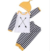 arrow boy - ins Boys Girls Baby Childrens Clothing Sets Long Sleeve Arrow Printed T shirts Striped Leggings Pants Yellow Hat Piece Set Clothes Suits