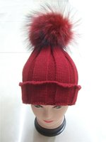 Wholesale Winter striped red fur pom pom knit beanie hat Fashion real fur ball cap for adult