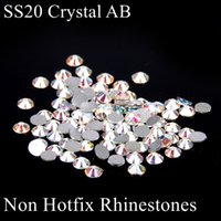 hot-fix for rhinestone - Crystal AB Non Hot Fix Glass Rhinestones ss20 mm Loose Diamonds For Nails Art Scrap Booking Decoration DIY Shoes