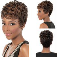 Wholesale Black Short Pixie Cut Wigs For Black Women Short Black Wigs Heat Resistant Synthetic Black Wig African American Short Wis