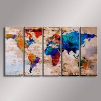 Cheap World Map painting Oil Painting 100% Hand Painted Modern Wall Art Painting ,Abstract oil painting WM-006