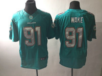 american wake - new elite american football jersey WAKE men jerseys adult shirts man shirt stiched tops teal green white throwback top