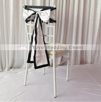 Wholesale 50sets Embroidered Mr Mrs White And Black Satin Chair Sash For Wedding