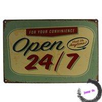 art retail stores - Metal poster OPEN Visit us Anytime Tin Sign Metal Art Wall Decor Retail Store J94