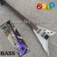 Wholesale Factory custom flying V J shape Acrylic Electric Bass Transparent Body Bass Guitar LED Light Black Hardware