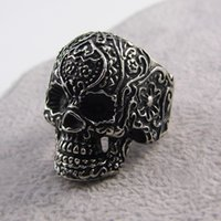 Wholesale Hot Selling Skeleton Ring Best Jewelry Gift Gothic Black Poker Party Stainless Skull Ring Men