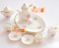 baby dollhouse - G05 X471 children baby gift Toy Dollhouse mini Furniture Miniature rement pink rose tea set set