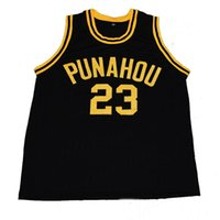 Wholesale Men s Barack Obama Punahou High School Basketball Jerseys Blue White Black Stitched Jersey Customize Any Size