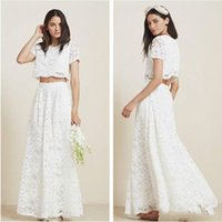 Wholesale Stunning Two Piece Full Lace Beach Wedding Dresses with Short Sleeves Floor Length Sheer Jewel Cheap Boho Bridal Gowns Custom
